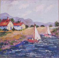 Coastal Settings - Boats On A Lake - Oil