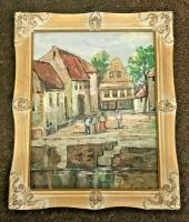 City And Town - Village Square - Oil