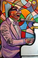 Ray Charles Brother Ray - Acrylic On Wood Cutout Paintings - By Gray Gallery, Folk Art 3-D Layers Painting Artist