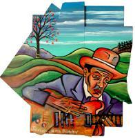John Lee Hooker In The Garden - Acrylic On Wood Cutout Paintings - By Gray Gallery, Folk Art 3-D Layers Painting Artist