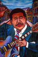 Bb King The King Of Beale - Acrylic On Wood Cutout Paintings - By Gray Gallery, Folk Art 3-D Layers Painting Artist