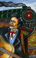 Johnny Cash Folsom Prison Blues - Acrylic On Wood Paintings - By Gray Gallery, Folk Art Painting Artist