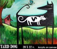 Yard Dog Number 155 - Acrylic On Canvas Paintings - By Gray Gallery, Folk Art Painting Artist