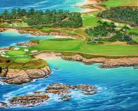 Pebble Beach 15Th Hole-South - Acrylic On Canvas Paintings - By Jane Girardot, Realism Painting Artist