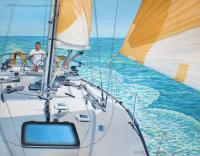 At The Helm - Acrylic On Canvas Paintings - By Jane Girardot, Realism Painting Artist