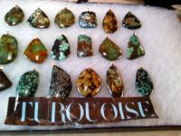 Natures Stones - Turquoise In Matrix Pendants  100 Stone Unadultered - Natural Stones