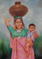 24X36 Inch - Mother And Child - Oil On Canvas