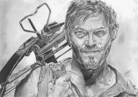 Daryl Dixon - The Walking Dead - Pencil  Paper Drawings - By Chris Jones, Portrait Drawing Artist