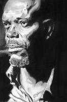 Samuel L Jackson - Pencil  Paper Drawings - By Chris Jones, Portrait Drawing Artist