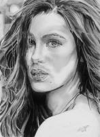 Kate Beckinsale - Pencil  Paper Drawings - By Chris Jones, Portrait Drawing Artist