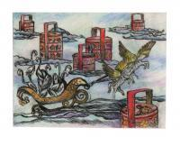 Travelling Flamingo 8 - Print On Paper Printmaking - By Elsie Lau, Surrealist Printmaking Artist