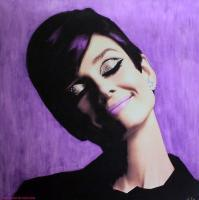Audrey - Purple - These Oil Paintings Are Origin Paintings - By Hayo Sol, Pop Art Painting Artist