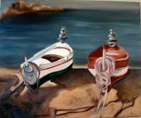 Seascape - Barcos - Oil On Canvas