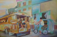 Paintings - Philippine Scene Jeepney - Oil Paint