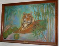 Animals - Tiger With Coconuts - Oil Paint