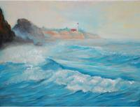 Seascape - Seascape With Lighthouse - Oil Paint