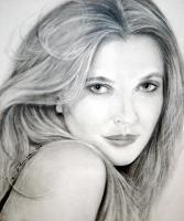 Portrait - Drew Barrymore - Charcoal Pencil