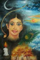 Modern Art - Life And Mind Of An Indian Woman - Oil In Canvas