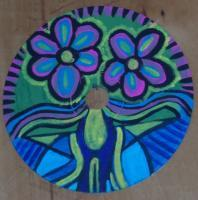 Painted Cds - Flowers With Wings - Acrylic
