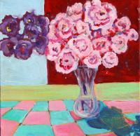 Flowers - Pink Carnations On Checked Cloth - Acrylic On Canvas