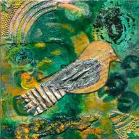 Acrylic - Mixed Media Bird 3 - Acrylic On Canvas