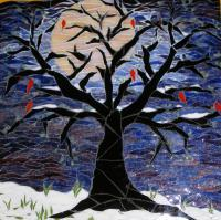 Full Moon Says Goodbye To Winter Spring Waits - Mosaic Glasswork - By Haley Alcock, Direct Method Mosaics Glasswork Artist