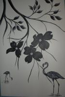 Black And White - Dogwood Darling 4 - Acrylic