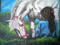 Cowgirls - Grazing Away - Acrylic  Canvas