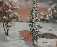 Winter 1 - Acrylics Paintings - By Daniela Trencheva, Impressionism Painting Artist