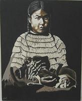 America - Indian Girl With Doll - Oil On Canvas