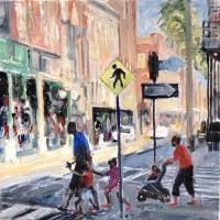 Landscape - Red Shoes In Ybor City - Oil On Canvas