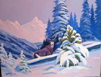 Colorado Wildlife - Winter Muley - Acrylic On Canvas