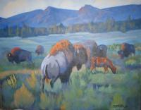 Colorado Wildlife - Herd Bull - Acrylic On Masonite
