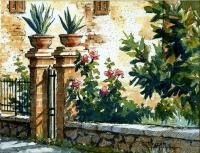 Ink With Wc Wash - Italian Courtyard Gate - Watercolor And Ink