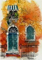 Ink With Wc Wash - Venice Door - Watercolor And Ink