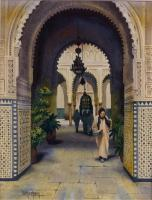Scenic - At The Mosque - Watercolor
