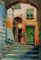 Ink With Wc Wash - Cinque Terre Italy - Watercolor And Ink