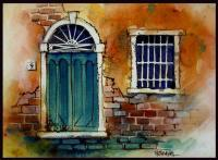 Ink With Wc Wash - Venice Door Number 9 - Watercolor And Ink