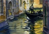 Ink With Wc Wash - Venice Gondola - Watercolor And Ink