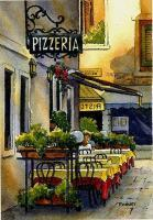 Ink With Wc Wash - Venice Pizzeria - Watercolor And Ink