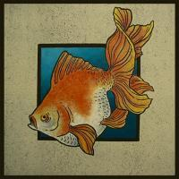 Printmaking - Veiltailed Goldfish - Ink
