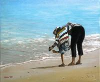 Sandy Shoes - Acrylics Paintings - By Bryan Hible, Realism Painting Artist