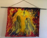Alessandriart - Painter Of Light-Bulb - Oil  Charcoal On Fabric