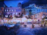 Seascape - Positano By Night - Acrylic On Canvas