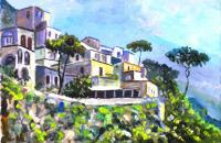 Seascape - Houses In Positano - Acrylic On Ceramic Tile