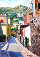 Landcityscapes - Street In Positano - Acrylic On Canvas