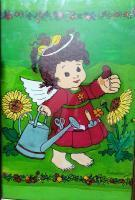 Reverse Glass Painting - Cute Angel On Garden - Enamel Painting