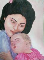 Colour Indian Ink Painting - Mother And Baby - Colour Indian Ink