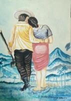 Colour Indian Ink Painting - Husband And Wife In A Field - Colour Indian Ink