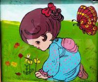 Reverse Glass Painting - Baby With Butterfly - Enamel Painting